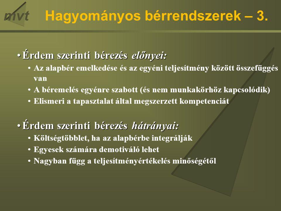 Hagyományos bérrendszerek – 3.