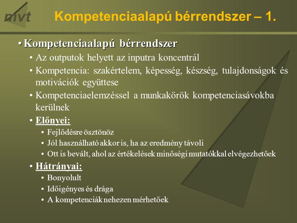 Kompetenciaalapú bérrendszer – 1.