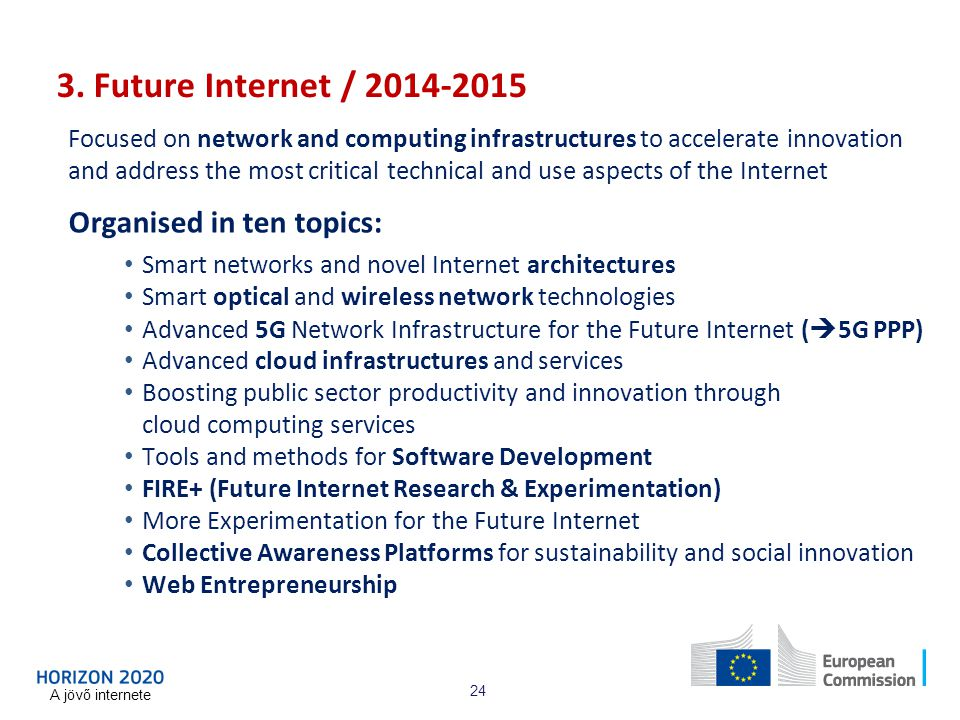 3. Future Internet / 2014-2015 Organised in ten topics: