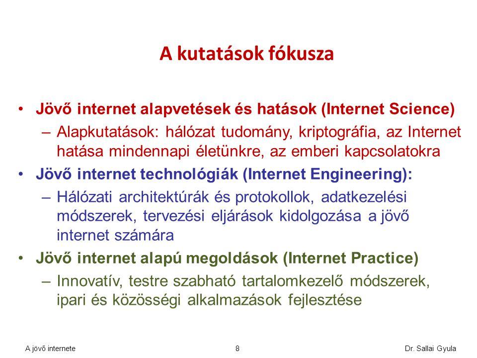 A kutatások fókusza Jövő internet alapvetések és hatások (Internet Science)
