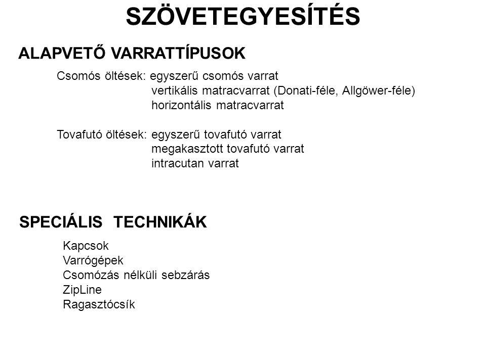 SZÖVETEGYESÍTÉS ALAPVETŐ VARRATTÍPUSOK SPECIÁLIS TECHNIKÁK