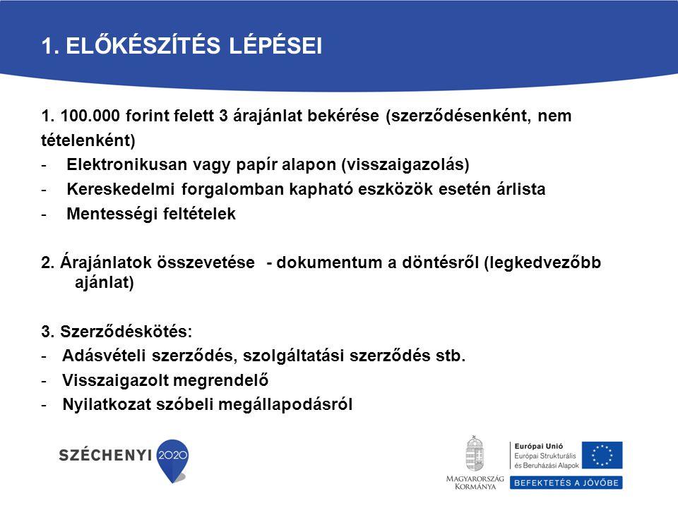 1. Előkészítés lépései 1. 100.000 forint felett 3 árajánlat bekérése (szerződésenként, nem. tételenként)
