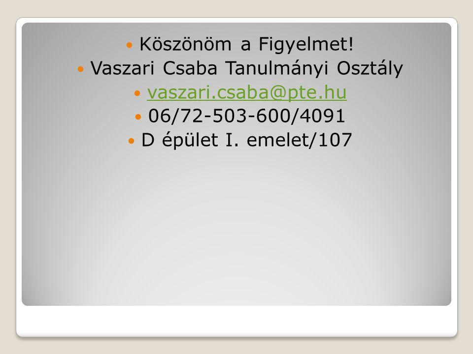 Vaszari Csaba Tanulmányi Osztály