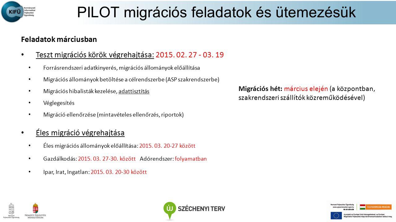 PILOT migrációs feladatok és ütemezésük