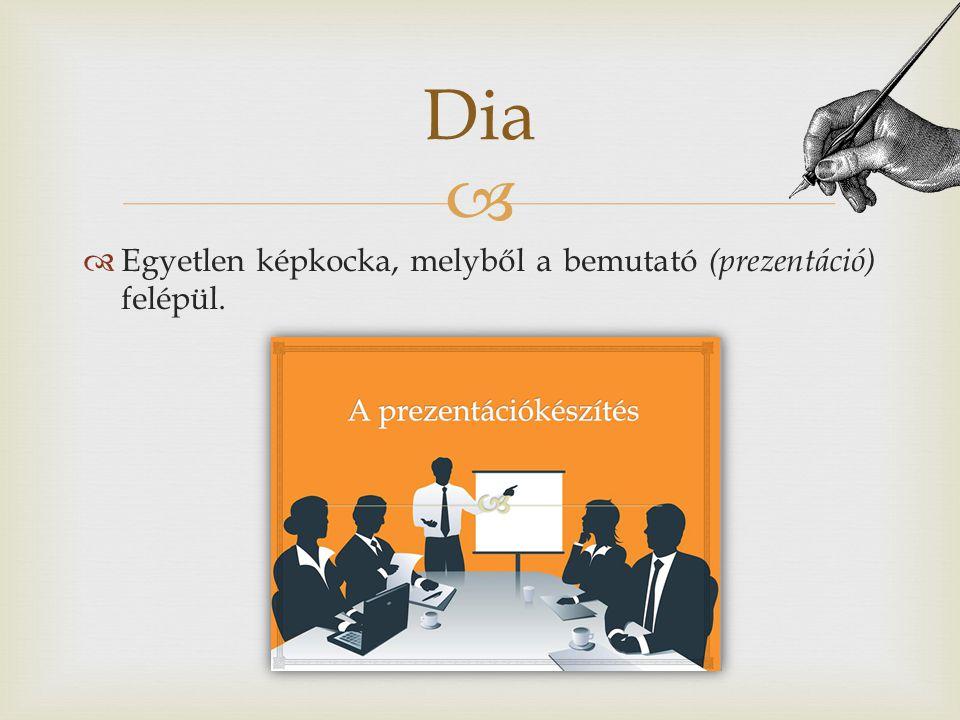 Dia Egyetlen képkocka, melyből a bemutató (prezentáció) felépül.