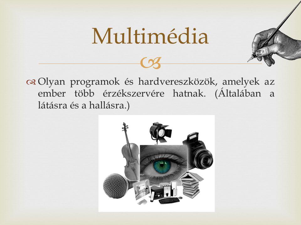 Multimédia Olyan programok és hardvereszközök, amelyek az ember több érzékszervére hatnak.