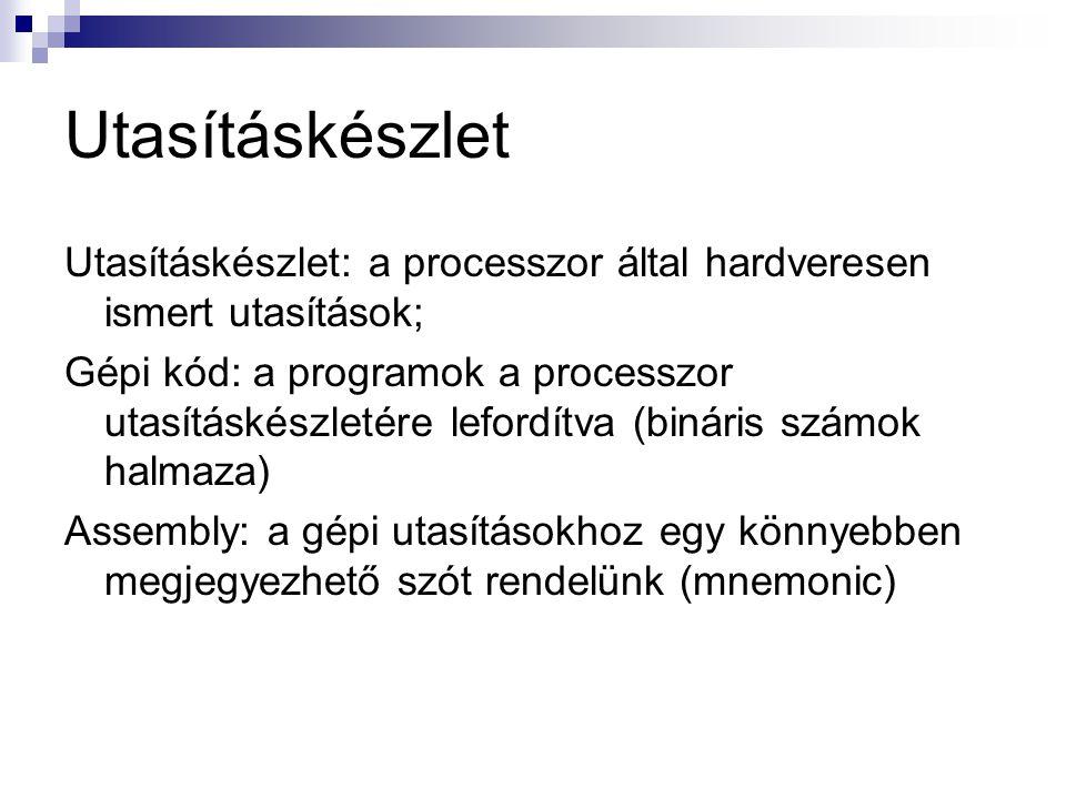 Utasításkészlet Utasításkészlet: a processzor által hardveresen ismert utasítások;