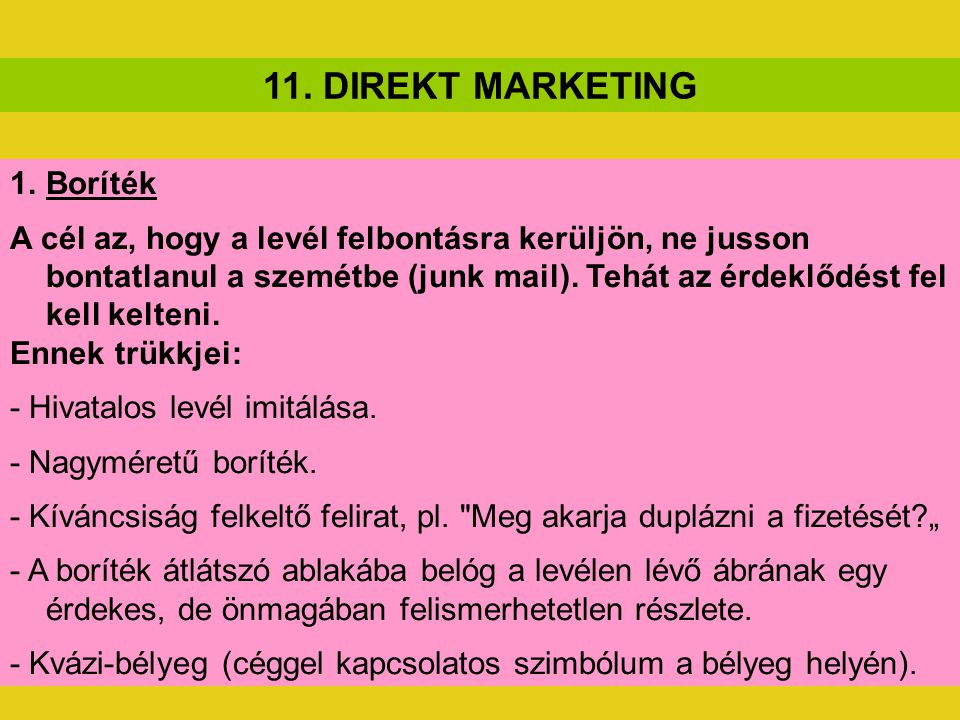 11. DIREKT MARKETING Boríték