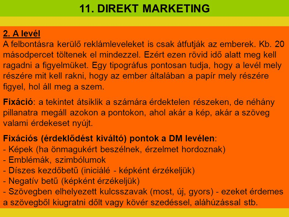 11. DIREKT MARKETING 2. A levél
