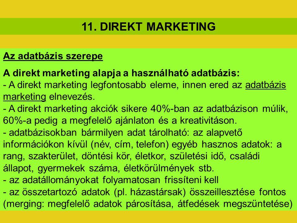 11. DIREKT MARKETING Az adatbázis szerepe