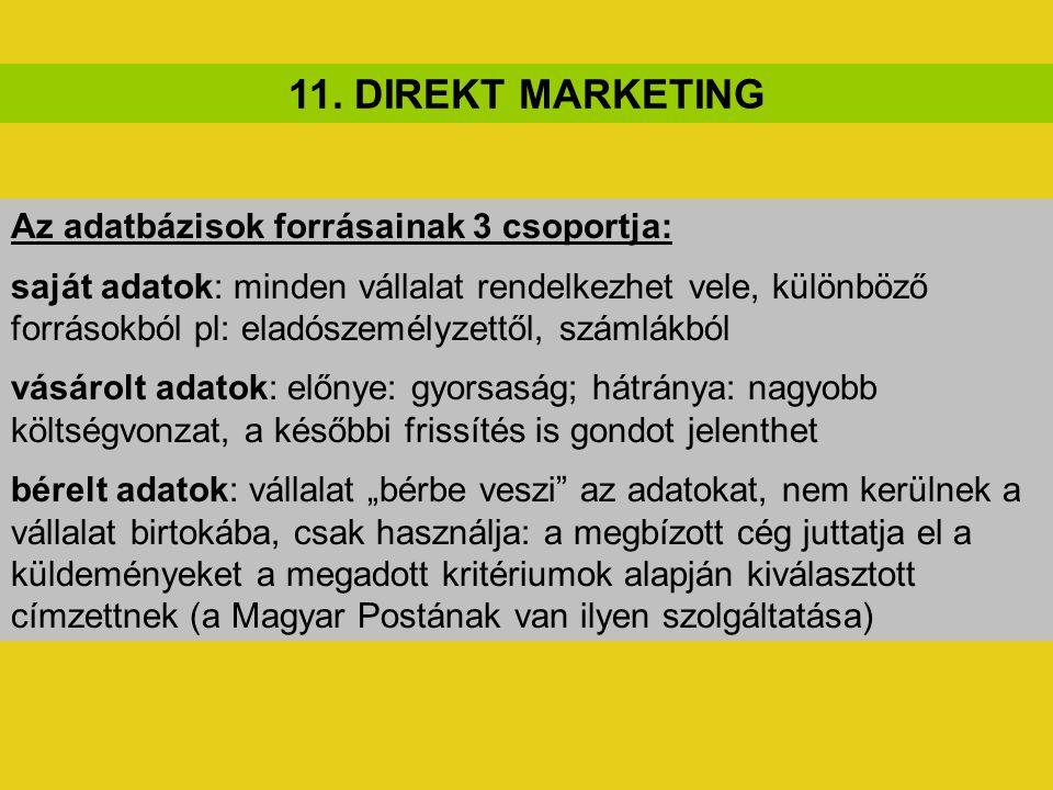 11. DIREKT MARKETING Az adatbázisok forrásainak 3 csoportja: