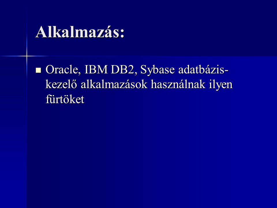 Alkalmazás: Oracle, IBM DB2, Sybase adatbázis-kezelő alkalmazások használnak ilyen fürtöket