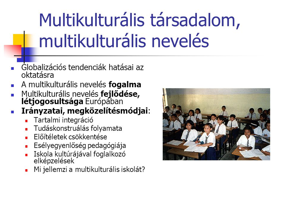 Multikulturális társadalom, multikulturális nevelés