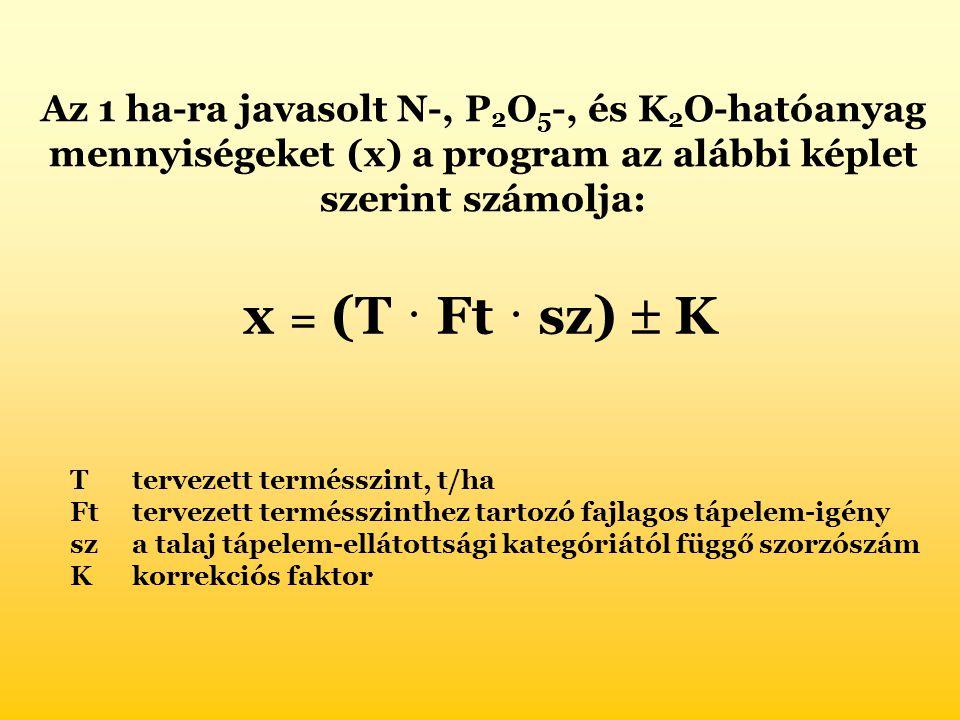 Az 1 ha-ra javasolt N-, P2O5-, és K2O-hatóanyag mennyiségeket (x) a program az alábbi képlet szerint számolja: