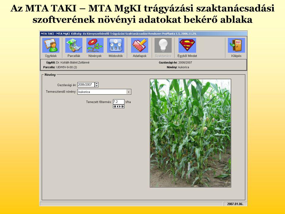 Az MTA TAKI – MTA MgKI trágyázási szaktanácsadási szoftverének növényi adatokat bekérő ablaka