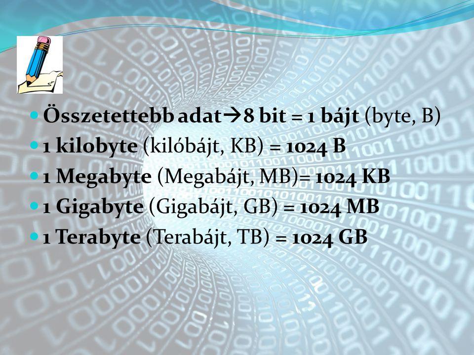 Összetettebb adat8 bit = 1 bájt (byte, B)