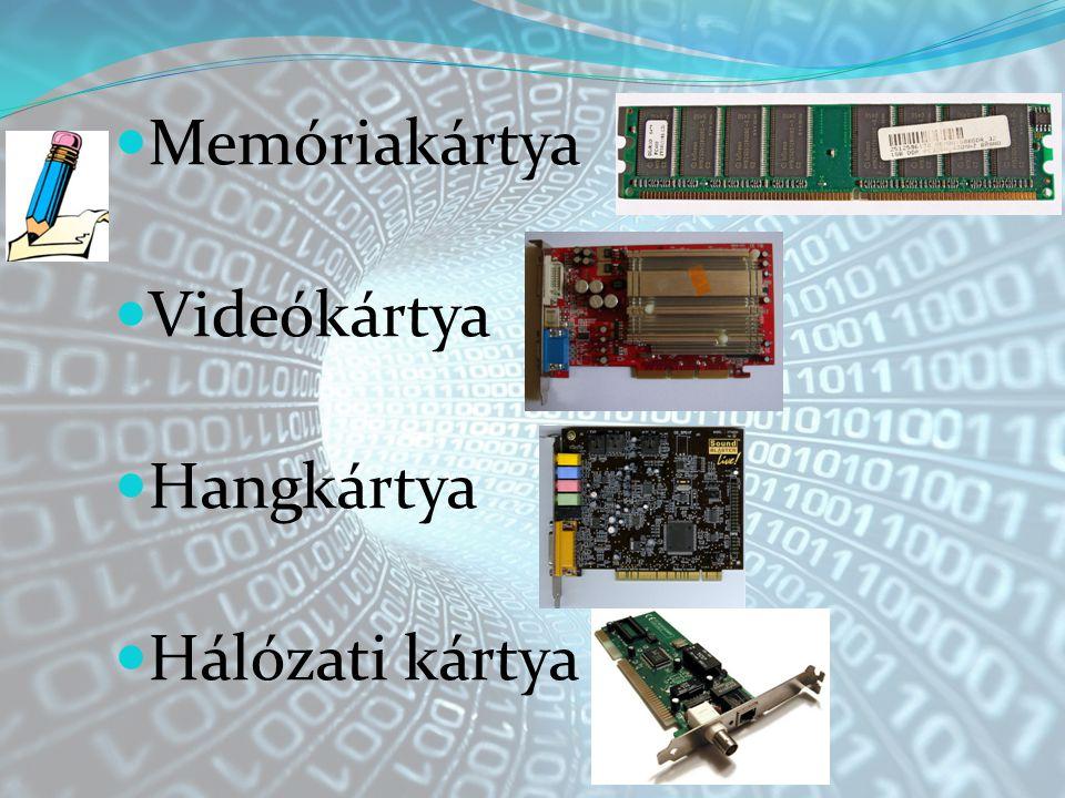 Memóriakártya Videókártya Hangkártya Hálózati kártya