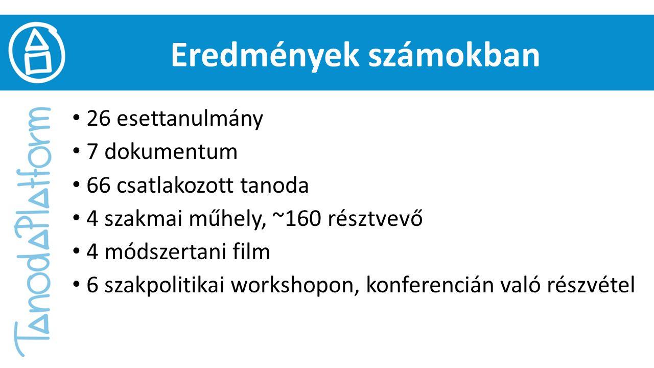 Eredmények számokban 26 esettanulmány 7 dokumentum