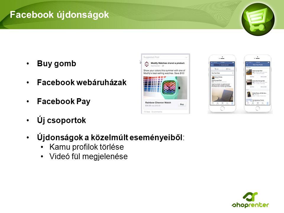 Facebook újdonságok Buy gomb Facebook webáruházak Facebook Pay