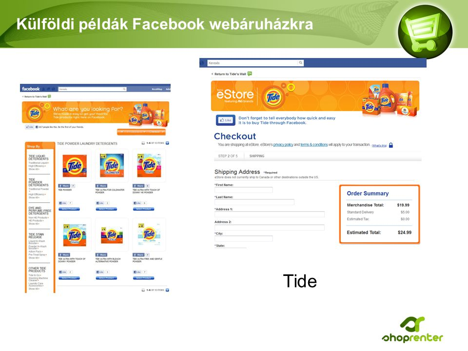 Külföldi példák Facebook webáruházkra