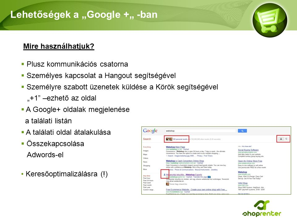 """Lehetőségek a """"Google +"""" -ban"""