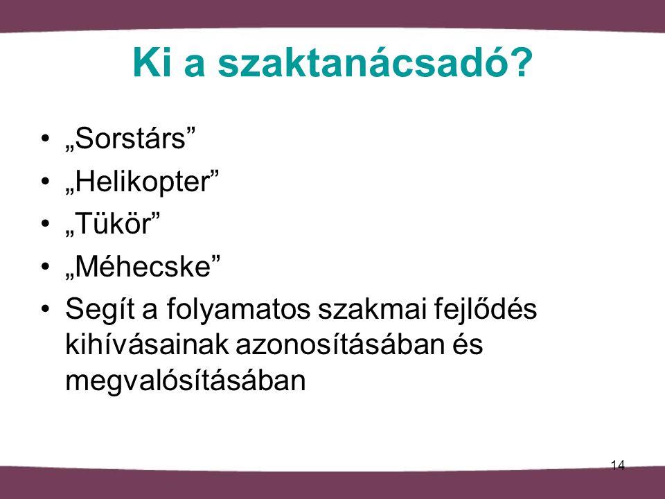 """Ki a szaktanácsadó """"Sorstárs """"Helikopter """"Tükör """"Méhecske"""