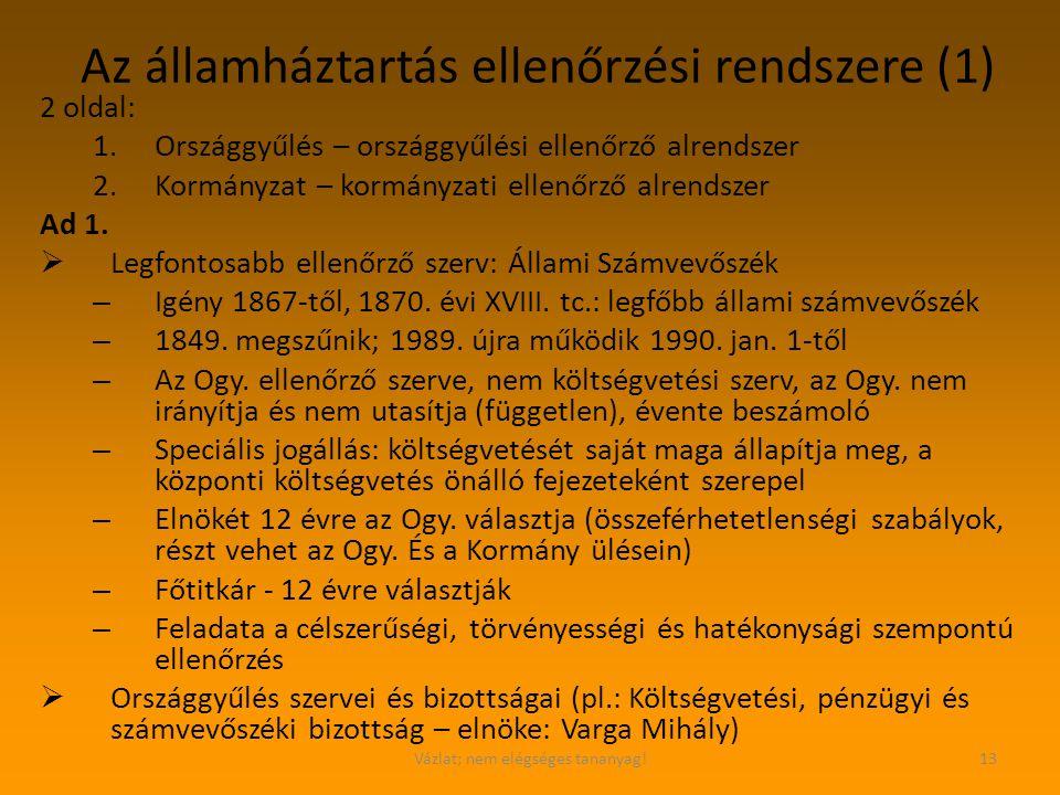 Az államháztartás ellenőrzési rendszere (1)