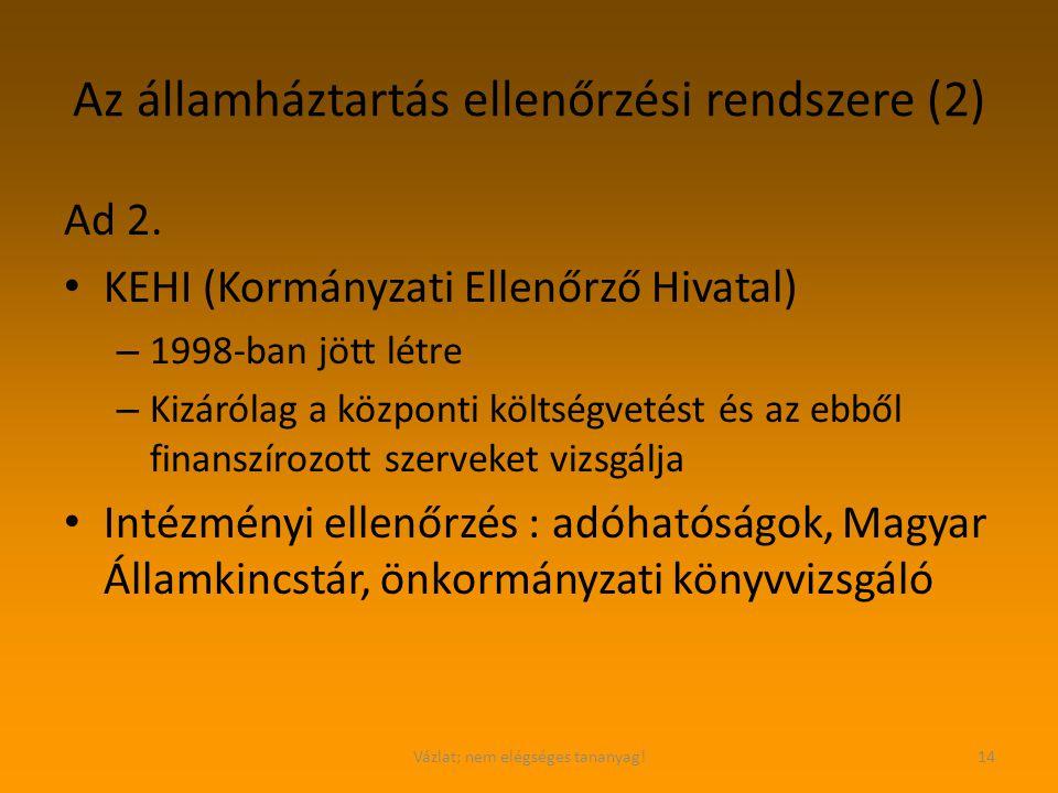 Az államháztartás ellenőrzési rendszere (2)