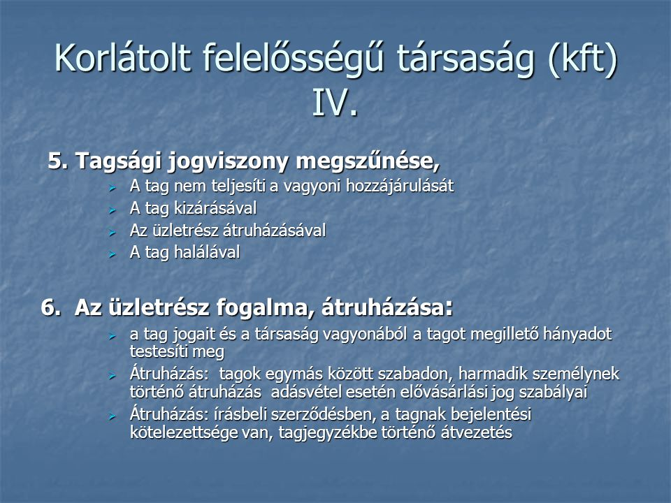 Korlátolt felelősségű társaság (kft) IV.