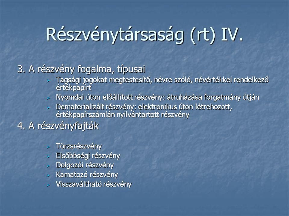 Részvénytársaság (rt) IV.