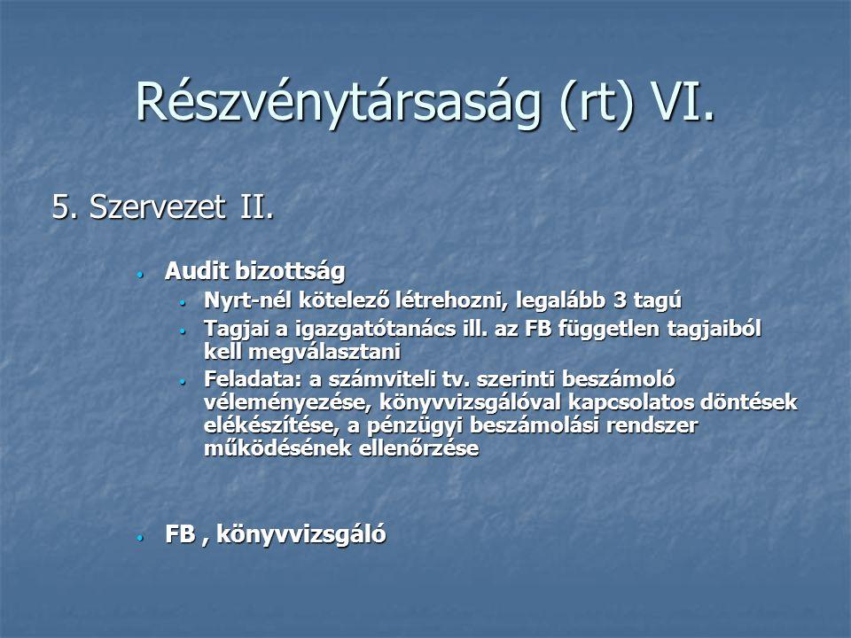 Részvénytársaság (rt) VI.