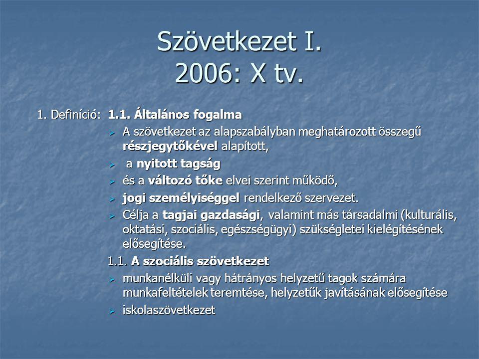 Szövetkezet I. 2006: X tv. 1. Definíció: 1.1. Általános fogalma