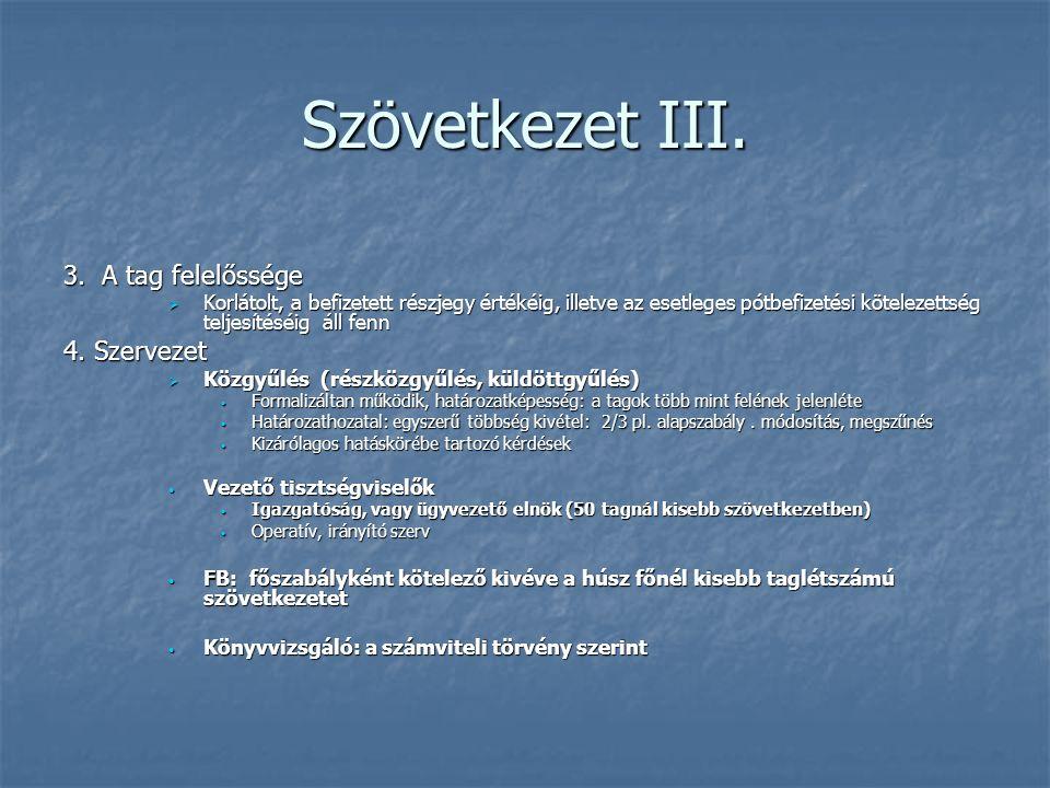 Szövetkezet III. 3. A tag felelőssége 4. Szervezet