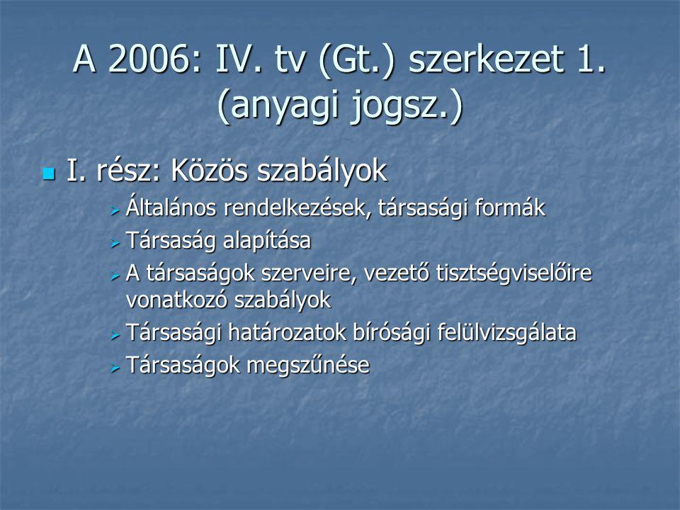 A 2006: IV. tv (Gt.) szerkezet 1. (anyagi jogsz.)