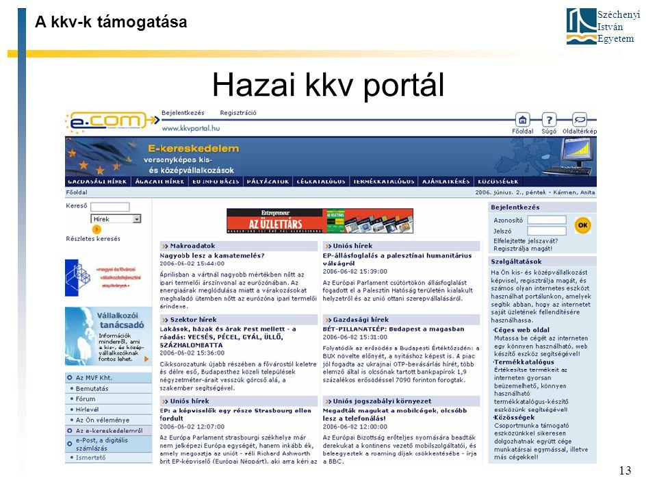 A kkv-k támogatása Hazai kkv portál