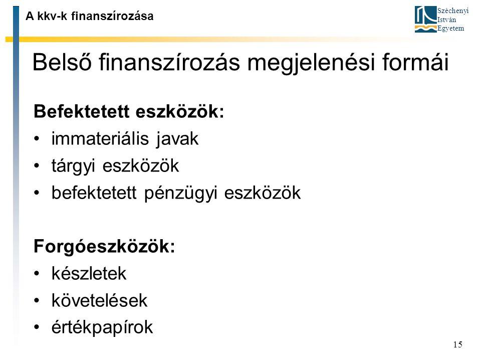 Belső finanszírozás megjelenési formái
