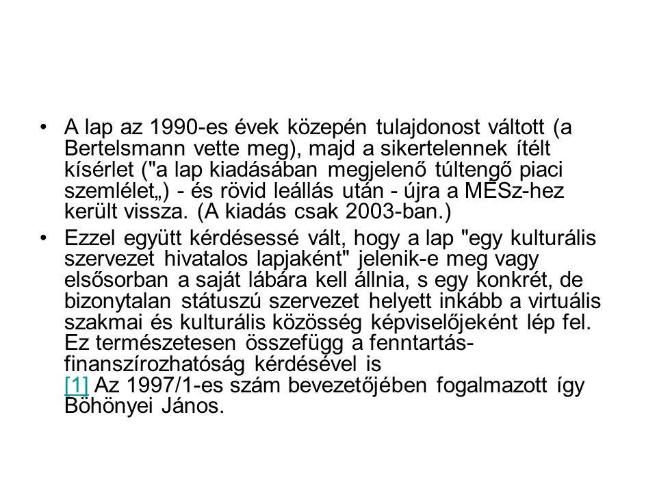 """A lap az 1990-es évek közepén tulajdonost váltott (a Bertelsmann vette meg), majd a sikertelennek ítélt kísérlet ( a lap kiadásában megjelenő túltengő piaci szemlélet"""") - és rövid leállás után - újra a MÉSz-hez került vissza. (A kiadás csak 2003-ban.)"""