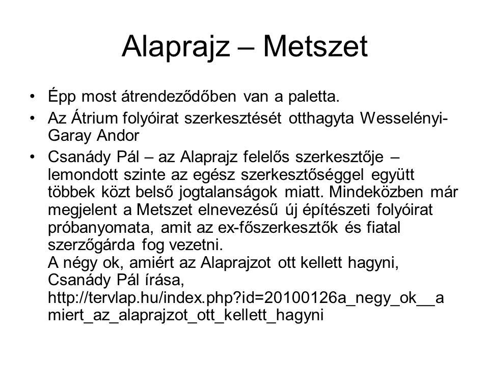 Alaprajz – Metszet Épp most átrendeződőben van a paletta.