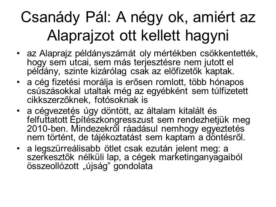 Csanády Pál: A négy ok, amiért az Alaprajzot ott kellett hagyni