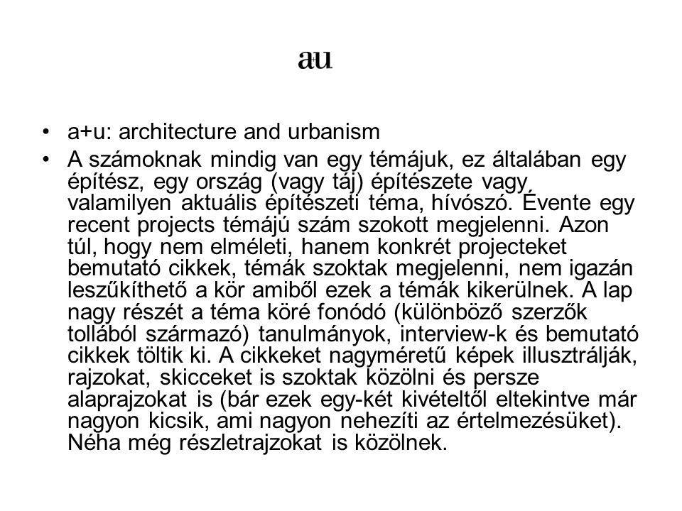a+u: architecture and urbanism