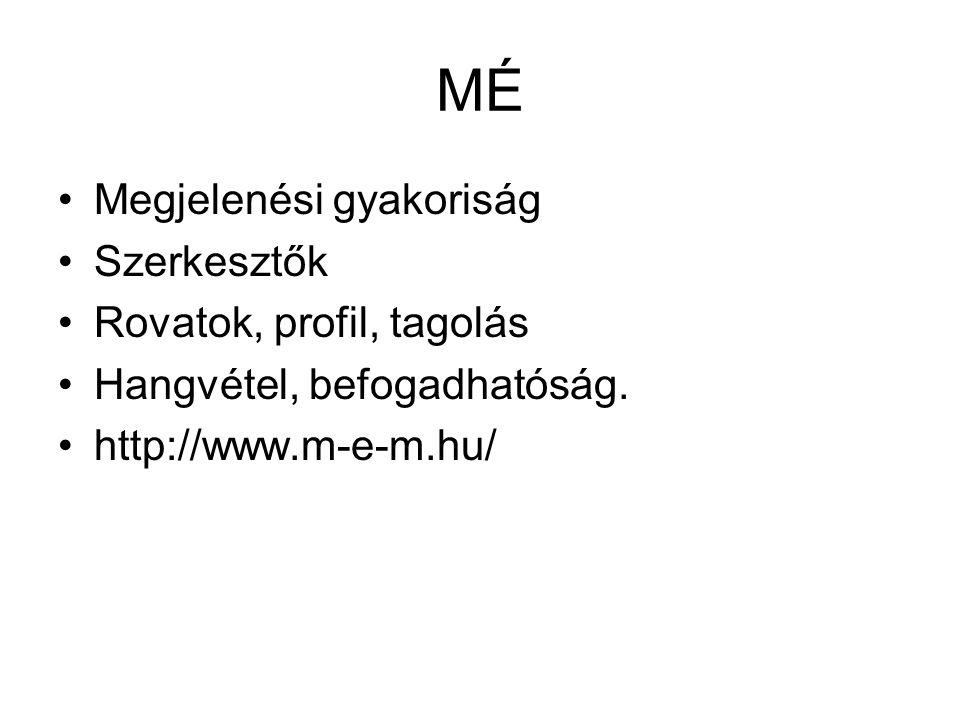MÉ Megjelenési gyakoriság Szerkesztők Rovatok, profil, tagolás