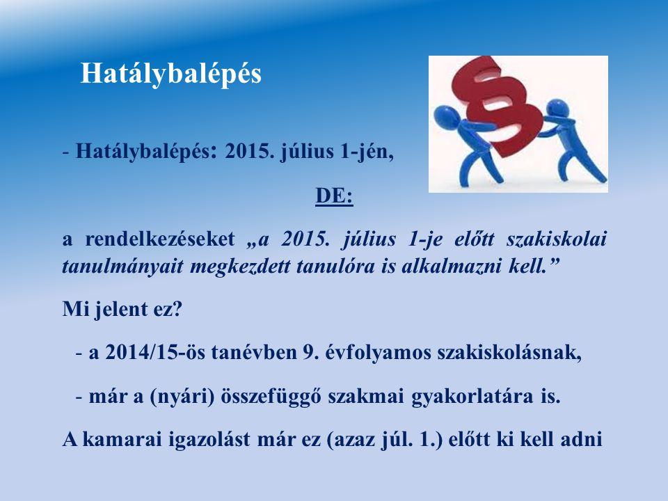 Hatálybalépés Hatálybalépés: 2015. július 1-jén, DE: