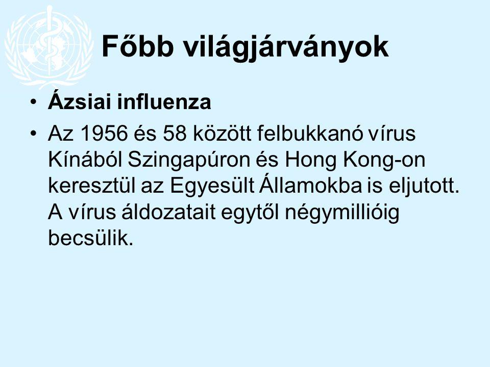 Főbb világjárványok Ázsiai influenza