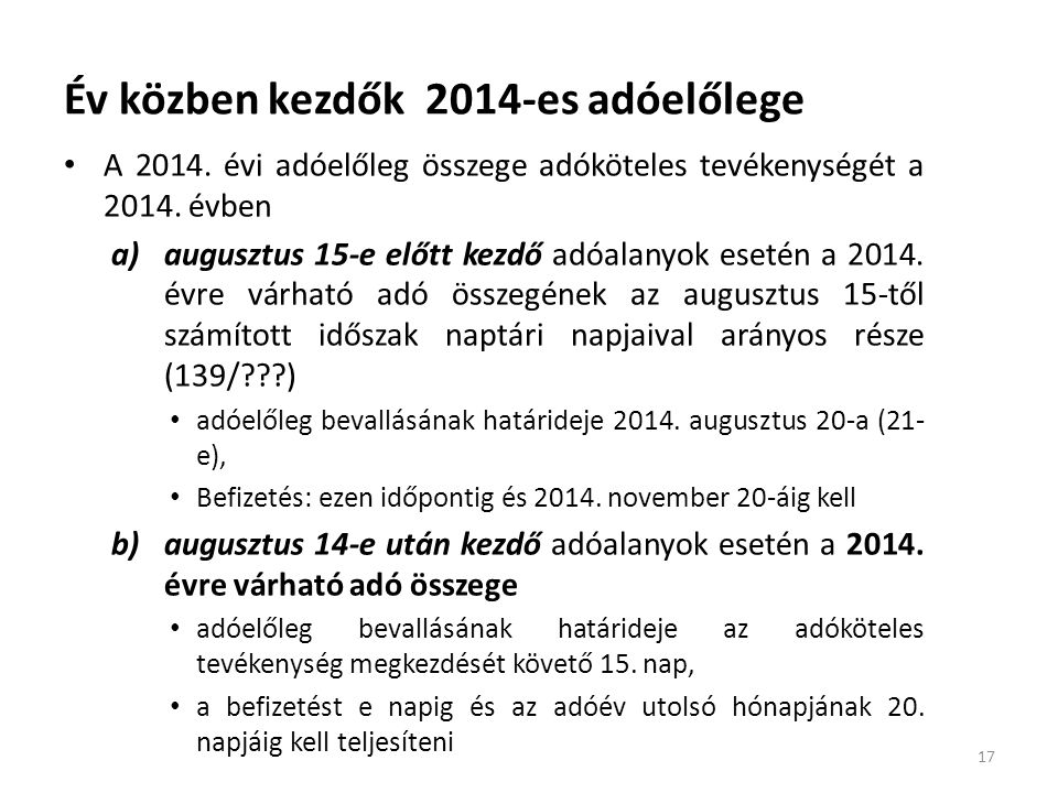 Év közben kezdők 2014-es adóelőlege