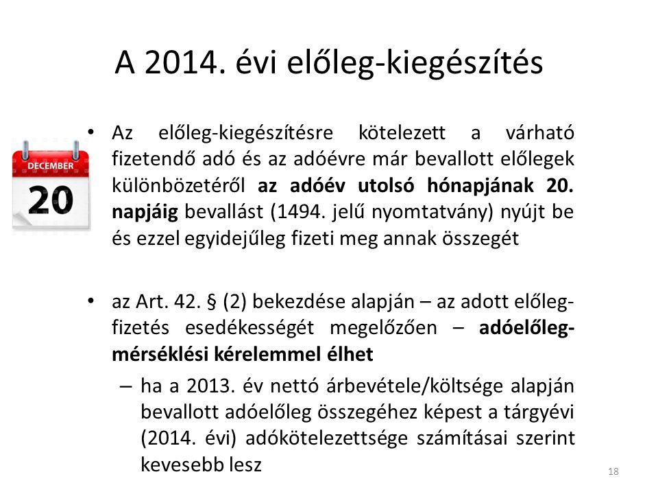 A 2014. évi előleg-kiegészítés