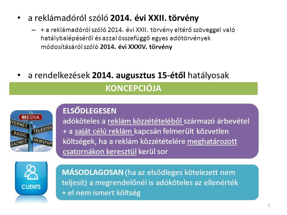 a reklámadóról szóló 2014. évi XXII. törvény