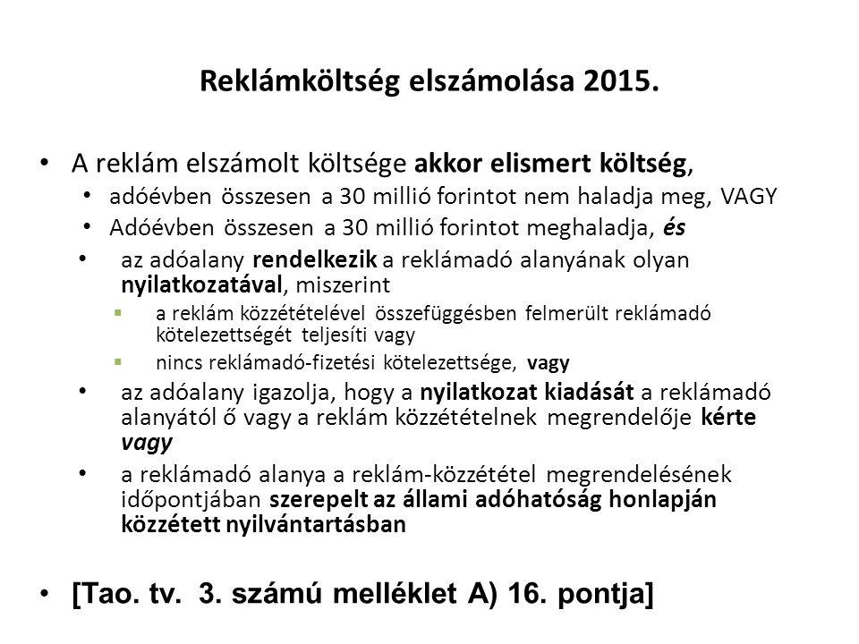 Reklámköltség elszámolása 2015.