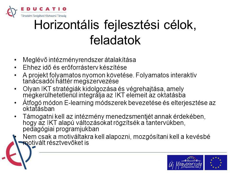 Horizontális fejlesztési célok, feladatok