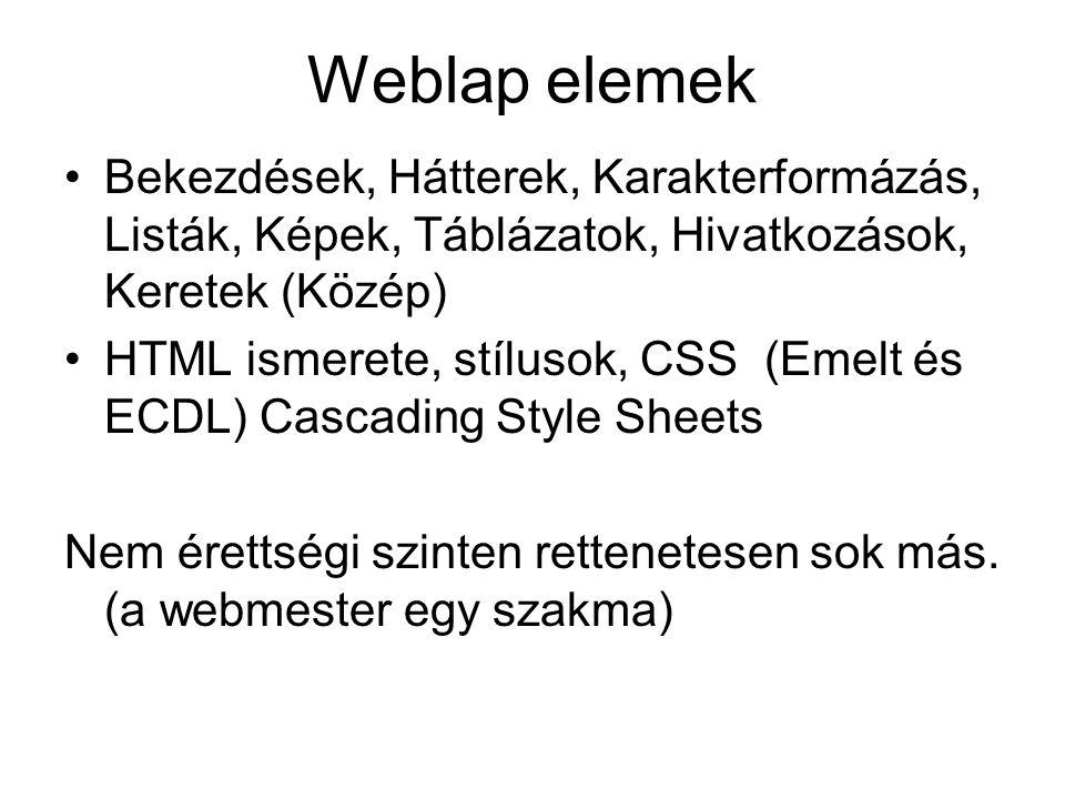 Weblap elemek Bekezdések, Hátterek, Karakterformázás, Listák, Képek, Táblázatok, Hivatkozások, Keretek (Közép)