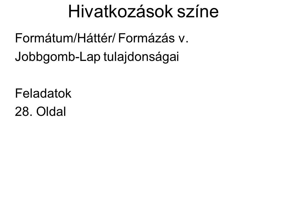 Hivatkozások színe Formátum/Háttér/ Formázás v.